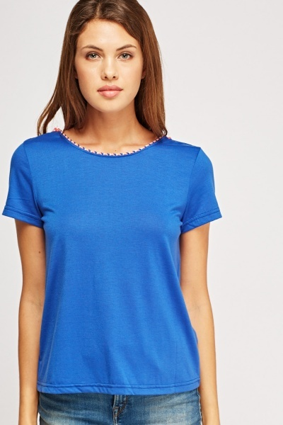 Tasseled Tie Up Neck T Shirt 4 Colours Just 163 5