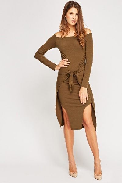 Tie Up Front Ribbed Bodycon Dress