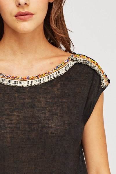 Embroidered Trim Top