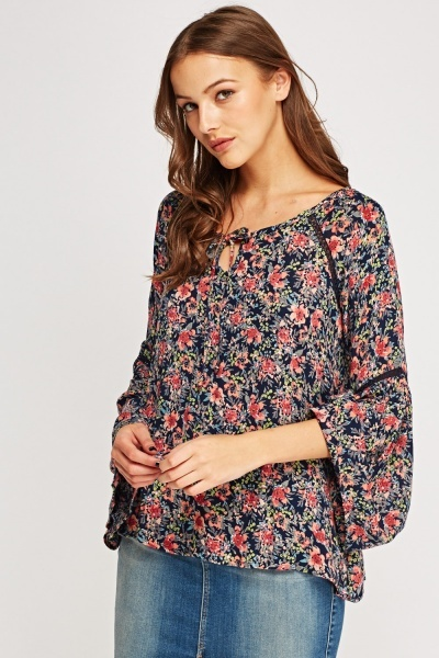 Floral Tie Up Neck Top