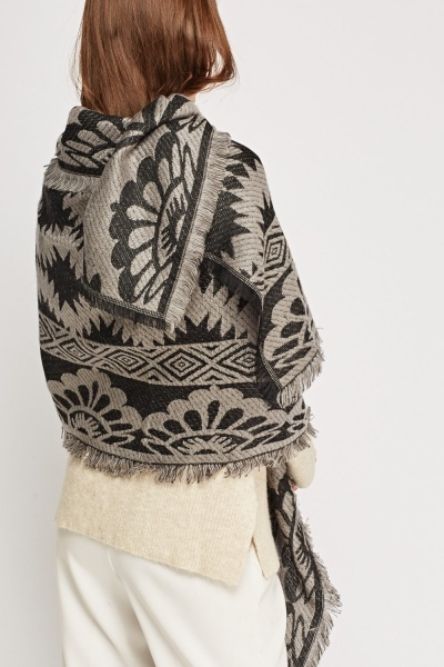 Mixed Print Knitted Scarf