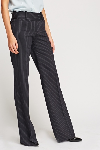 Pinstriped Wide Leg Formal Trousers