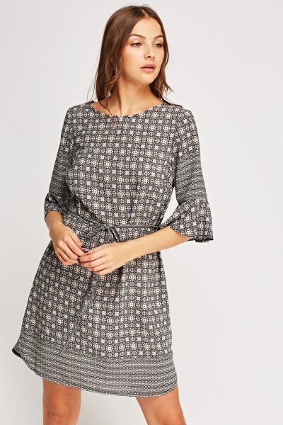 Printed Tie Up Dress