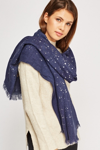 Star Printed Knitted Scarf