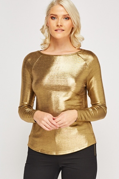 Metallic Long Sleeve Top