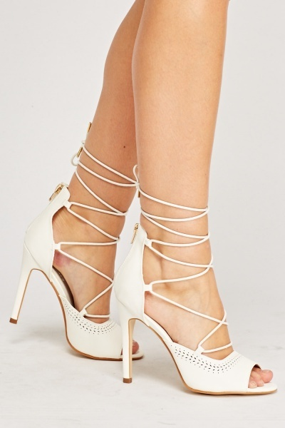 Laser Cut Tie Up Heels