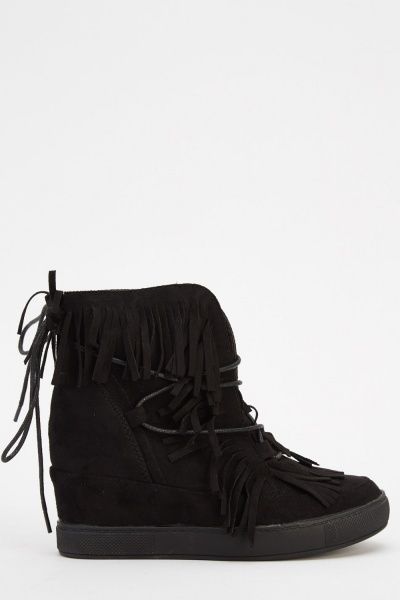 Suedette Fringed Wedge Boots