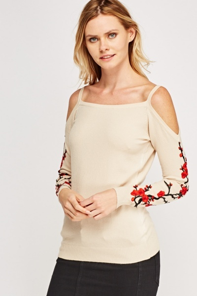 Embroidered Cold Shoulder Knitted Top