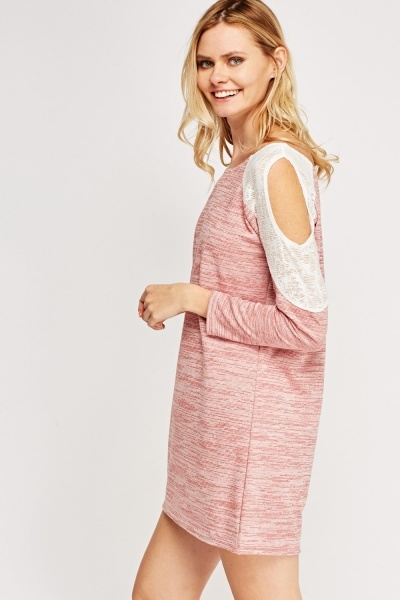 Mesh Cold Shoulder Sleeve Dress