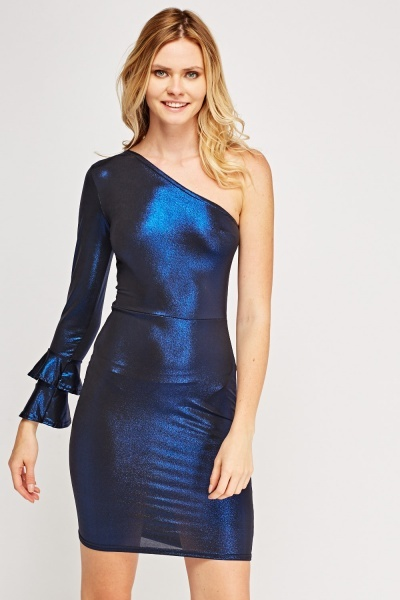 Metallic Bodycon One Shoulder Dress