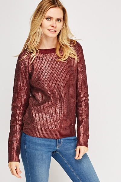 Metallic Cable Knit Jumper