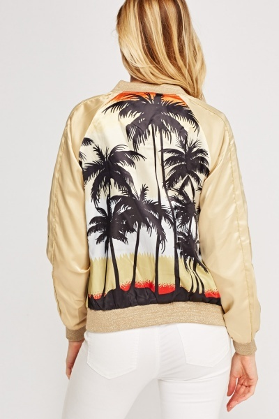 Palm Tree Contrast Bomber Jacket