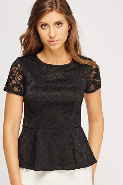 Black Lace Overlay Peplum Top
