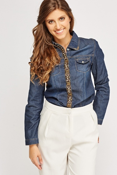 Embellished Trim Denim Shirt