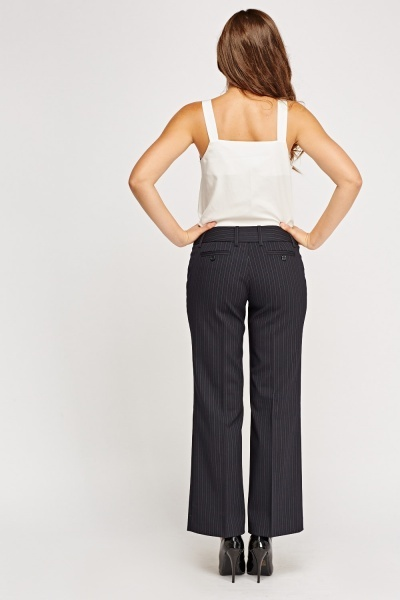 Fitted Waist Flared Hem Formal Trousers