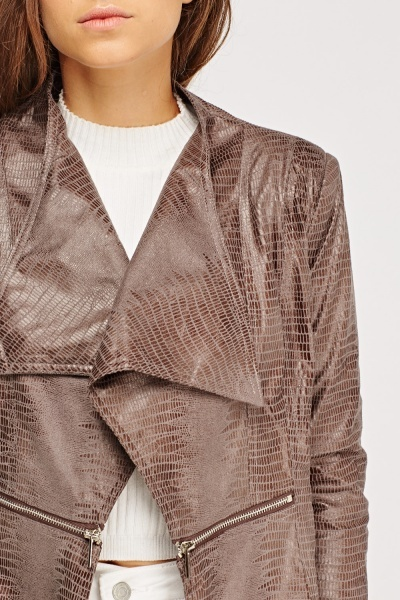 Mock Croc Print Zip Detail Jacket