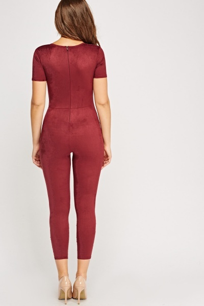 Suedette Fitted Jumpsuit