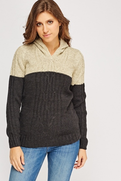 Two Tone Hooded Jumper