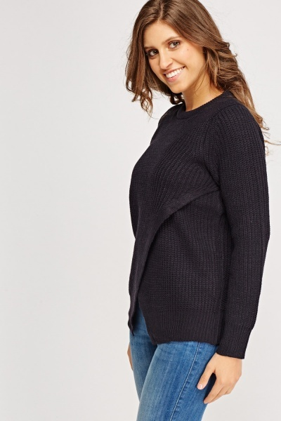 Wrapped Front Knitted Jumper