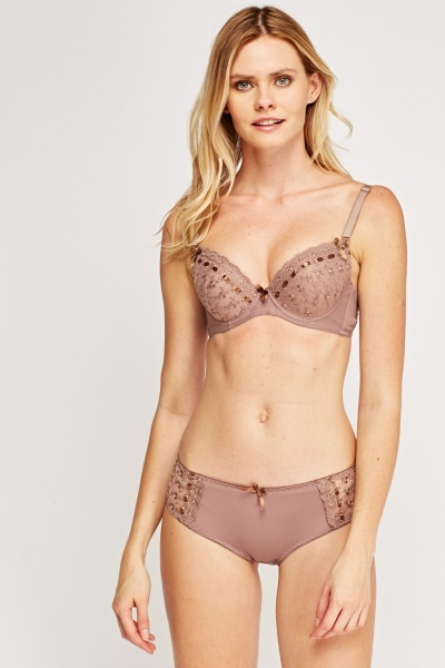 Embroidered Push Up Bra And Brief Set