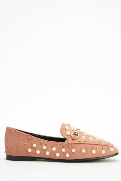 Faux Pearl Suedette Detailed Loafers