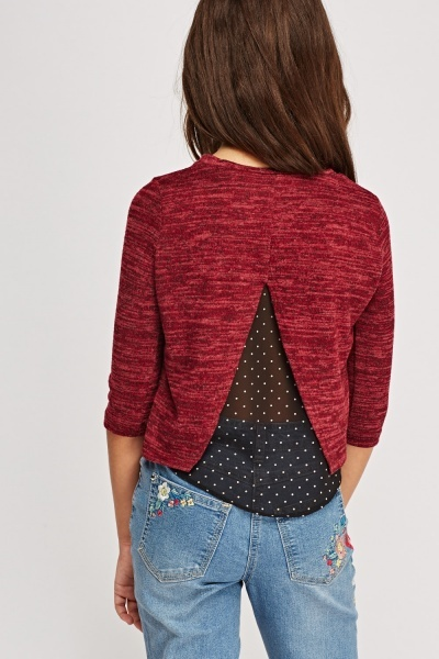 Mesh Back Contrast Top