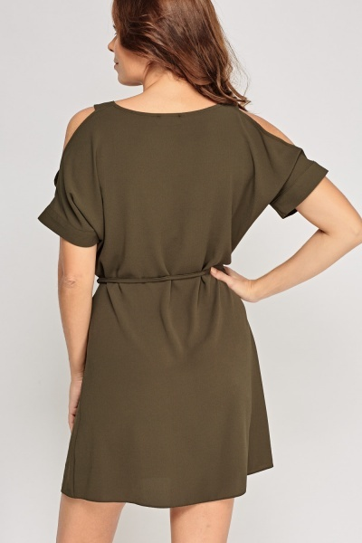 Cut Out Shoulder Tie Up Dress