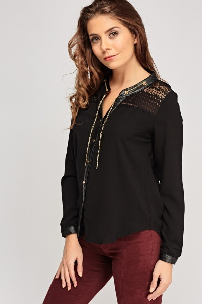 Detailed Chain Contrast Blouse