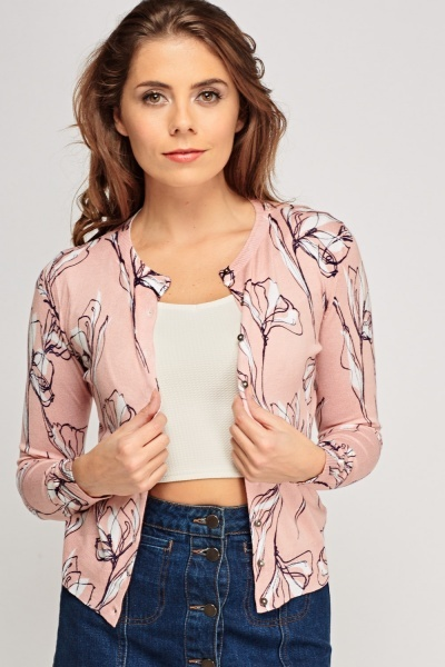 Dusty Pink Printed Cardigan