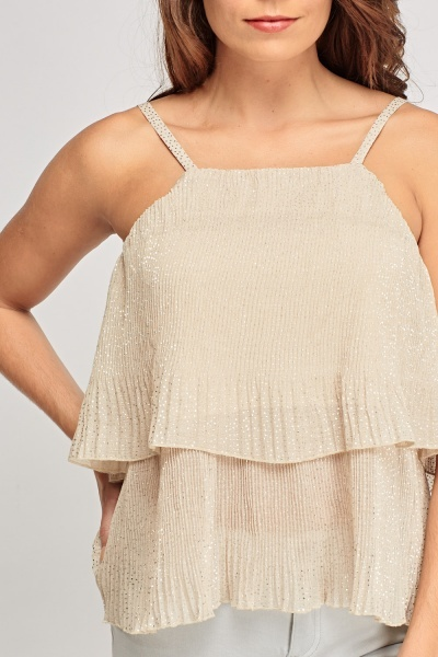 Metallic Dotted Pleated Top