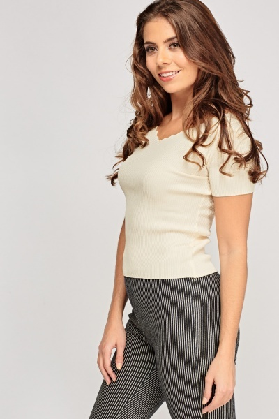 Scallop Neck Ribbed Top