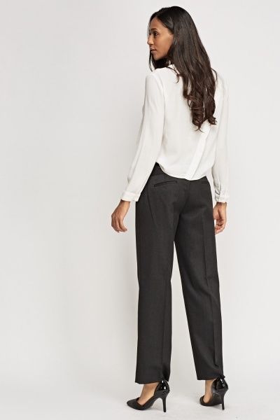 Charcoal Formal Straight Trousers
