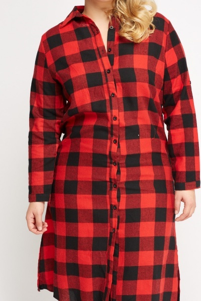 Checked Grid Midi Shirt Dress