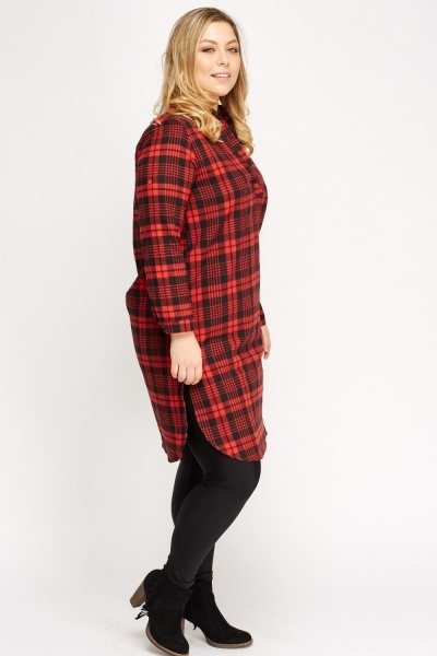 Checked Grid Red Shirt Dress