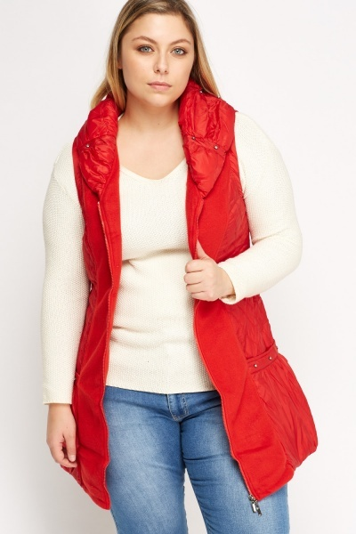 Fleece Contrast Sleeveless Jacket