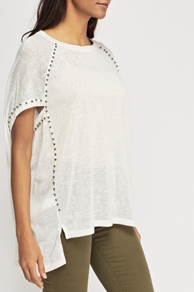 Metallic Beaded Poncho Top