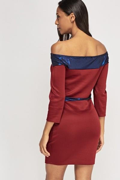 Off Shoulder Metallic Contrast Dress