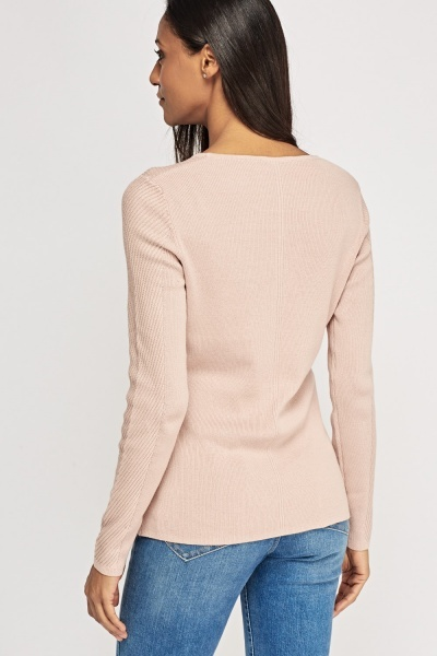 Ribbed Embellished Knitted Top