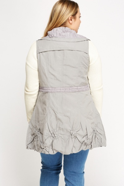 Ruched Trim Sleeveless Jacket