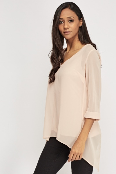 Sheer Wrap Back Blouse