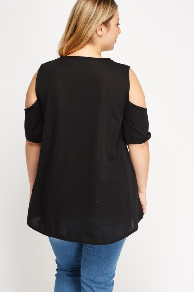 Wrapped Front Cold Shoulder Top