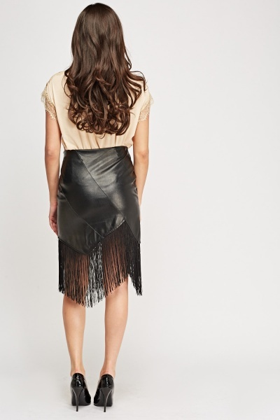 Asymmetric Fringed Faux Leather Skirt