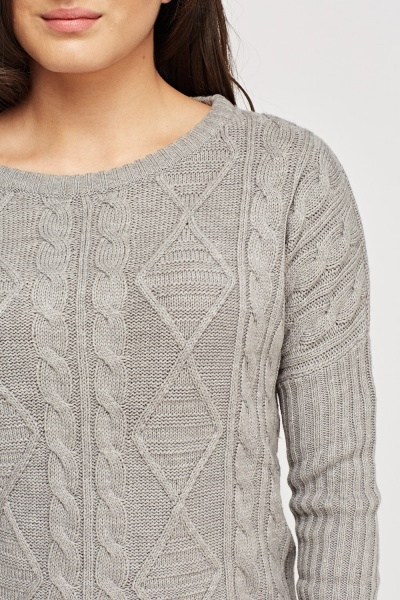 Cable Knit Grey Jumper