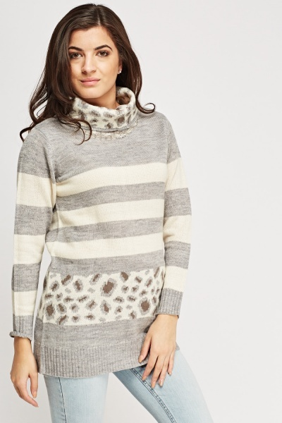 Cowl Neck Contrast Knitted Jumper