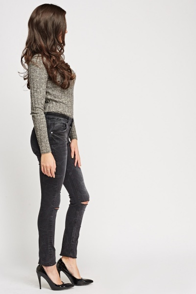 Ripped Knee Charcoal Jeans