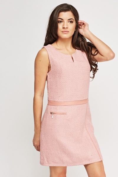 Woven Contrast Shift Dress