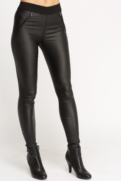 Black Waxed High Waist Leggings