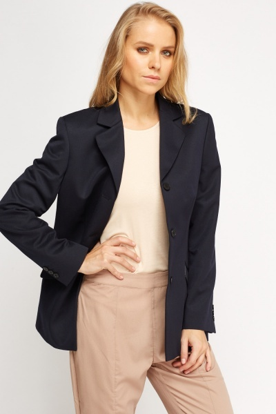 Formal Navy Long Blazer