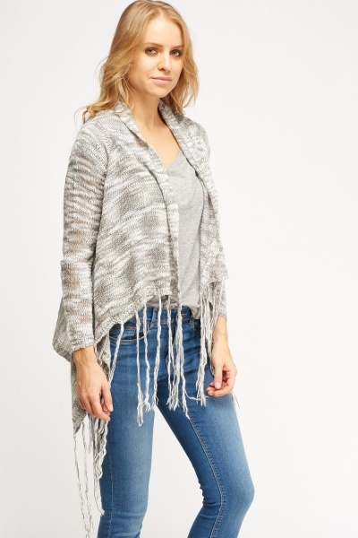 Fringed Speckled Knitted Cardigan