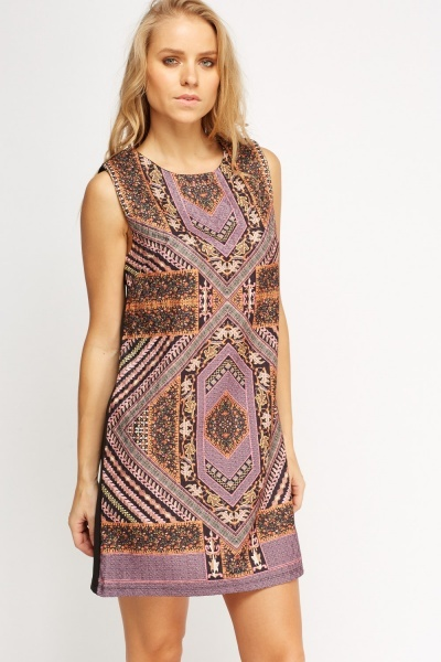 Mixed Print Contrast Shift Dress